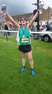 David Wood celebrates his 60th birthday at the Edinburgh Marathon.